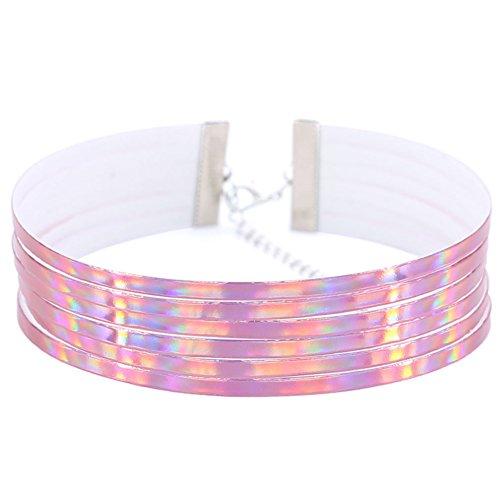 Damen Choker-Halskette, mehrreihig, holografisch, breit, rose, Einheitsgröße
