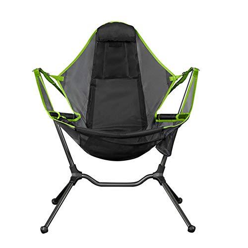 Zoloyo Campingstuhl, tragbare Schaukel-Rucksack-Stühle, Liege, Entspannung, Schaukeln, Komfort, Atmungsaktiv, Rückenlehne für Outdoor Klappstuhl Camping grün