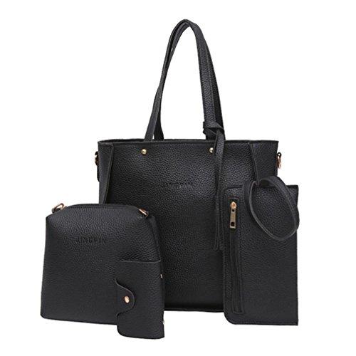 ESAILQ Femmes Set Sac à main quatre sacs d'épaule Quatre Pièces Sac fourre-tout à bandoulière Porte-monnaie (Noir)