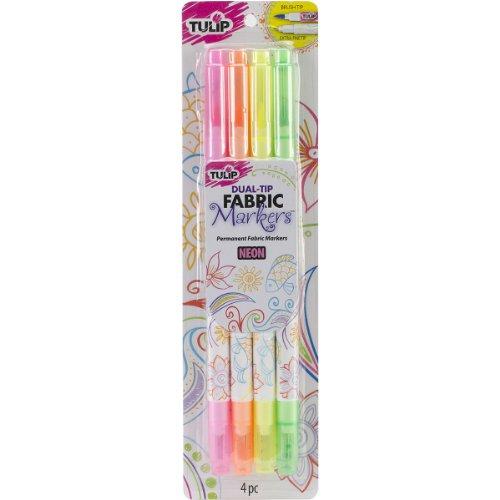 I Love pour créer Tulip Dual-Tip Tissu Marqueurs 4/Pkg-Neon, d'autres, Multicolore