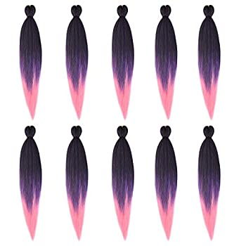 Celie 10pack Pre Stretched Braiding Hair 3 Tone Yaki Synthetic Colorful Hair Braids Ombre Crochet braiding Hair  20inch 1b/purple/pink …