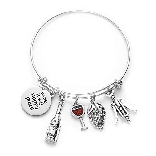 Wine Lovers Wine Themed Gifts Bracelets For Women Flask Bangle Bracelet Wine Is My Happy Place Funny Gift Hostess Jewelry