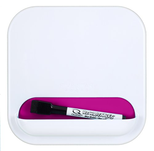 """Five Star Locker Accessories, Combo Dry Erase Board and Storage Pocket, 7"""" x 7"""", White with Berry Pink/Purple Pocket (72610)"""