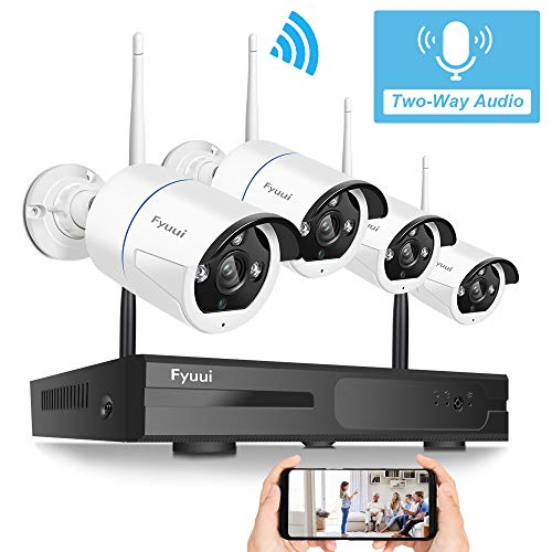 【Two-Way Audio】 Wireless Security Camera System,Fyuui 1080P 8 Channel Wireless Surveillance H.265+ NVR 4pcs 2.0 Megapixel (1920×1080P) WiFi IP Bullet Camera Outdoor Indoor, Remote View