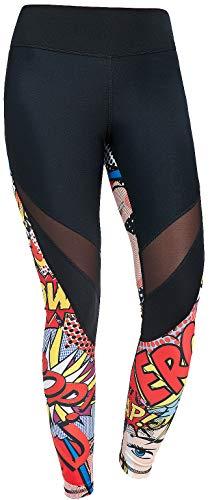 FeelJ! Sport Leggings Damen Lang Bedruckt | Blickdicht | Sexy Mesh-Einsätze | Yoga | Fitness Hose | Streetwear | Sportswear Größe:S,...