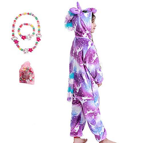 LINKE Mädchen Einhorn Pyjama Premium Qualität Sanft Plüschoverall Gemütlich Geschenk Mit Kostenlosem Bunten Armband & Halskette, Lila Pegasus,140(9-10Jahre)