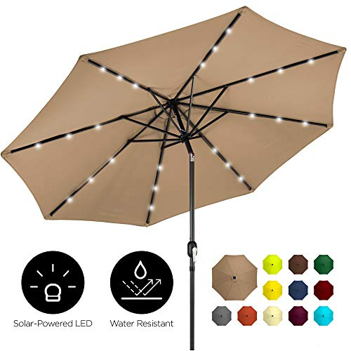 Best Choice Products 10ft Solar LED Lighted Patio Umbrella w/Tilt Adjustment, Fade-Resistant Fabric - Tan