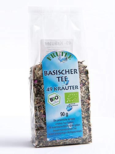 FRUTEG Basischer Kräutertee Bio 90 g I loser Tee mit 49 erlesenen Bio-Kräutern I Basischer Wohlfühl-Tee mit Löwenzahn Alantwurzel Salbei Brennessel Zimt Apfel uvm. I Bio-Basen-Tee lose I 90g