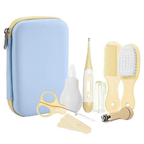 Babypflege Set, 8-teiliges Set für Baby wesentlich Bequem Täglich Nagelknipser Schere Haarbürste Kamm Maniküre Pflege Kit (Gelb)