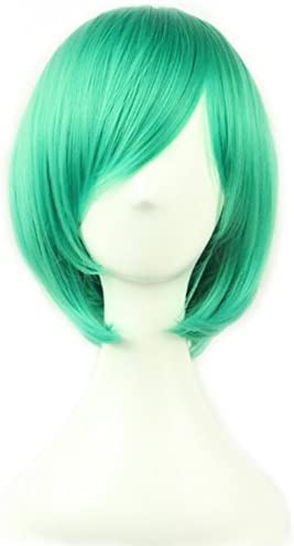 AneShe 12 Short Straight Hair Wig Anime Cosplay Costume Party Wigs Green product image