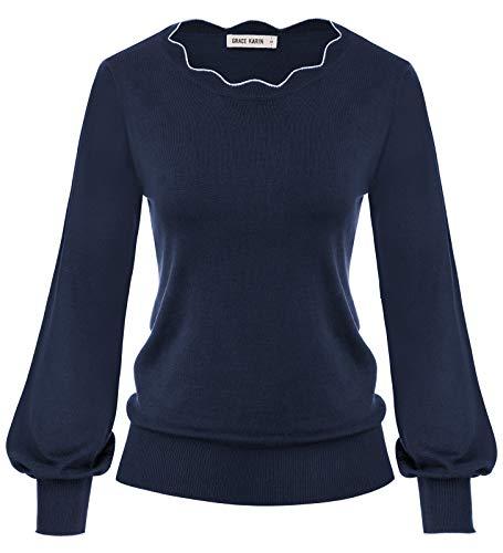 GRACE KARIN Damen Dunkelblau Laternenärmel Pullover Vintage H-Linie Wellig Ausschnitt Langarm Pulli M CLA02665-6