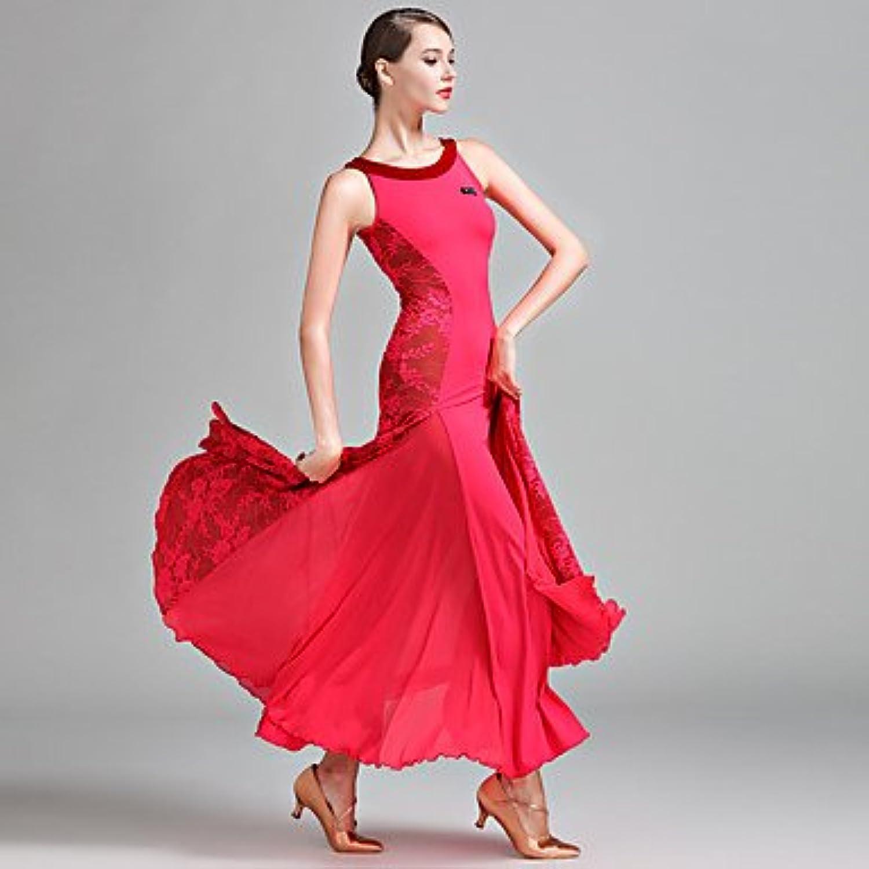 YYWUDAOQUN TT&Dance Dresses Ballroom Dance Women's Performance Lace Milk Fiber Laces Sleeveless Natural Dress