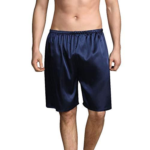Heflashor Herren Satin Glanz Boxershorts Unterwäsche Sommer Einfarbig Pyjamas Shorts Schlafanzughose Nachtwäsche Seidensatin Webboxer Boxer Shorts