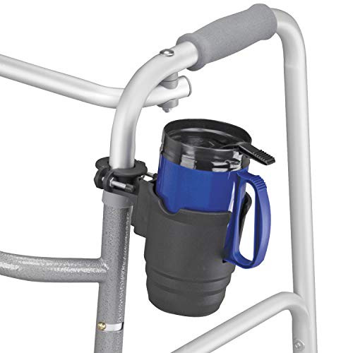 Duro-Med Wheelchair Cup Holder - Walker Cup Holder for 10 to 32 Ounces, Includes Insert, Universal, Black