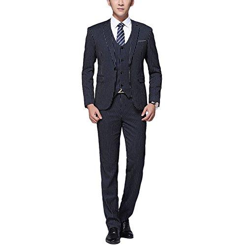 Victory Man(ビクトリー メンズ)スーツ メンズ 3ピーススーツ&上下セットスーツ スーツセット セットアップ スリム 紳士服 洗えるスーツ ストライプ系 ビジネス ファション