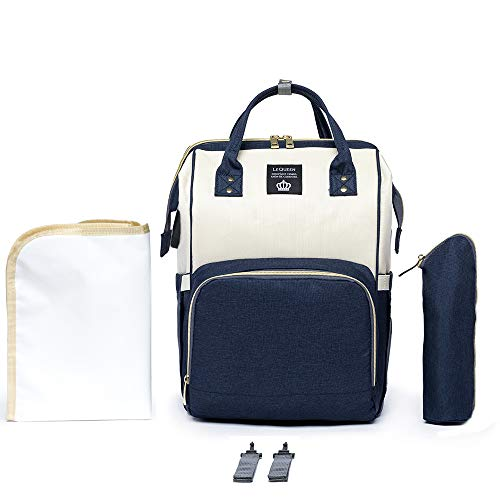 Bolsa Mochila Lequeen Original Maternidade Branco c/Azul 17L