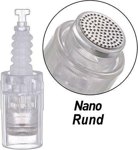 GEER Micro Aiguilles Nano Rund, Aiguille Microneedling Remplacement Cartouches pour Dermapen Électrique 10 Pièces/Pack,Bayonet
