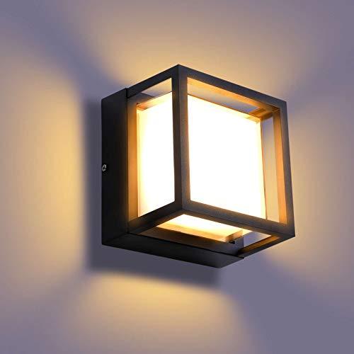 Lightess 18W Außenleuchte LED Wandleuchte Aussen Außenlampe Warmweiss Wand Außenwandleuchte Wandlampe Wasserdicht IP65 Außenbeleuchtung Alu für Außenbreich Outdoor Wall light