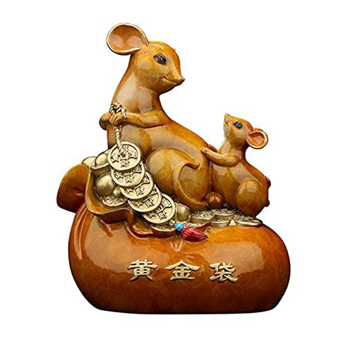 Gpzj Adornos de ratón/Rata del zodíaco Chino Figuras de Animales Fortunas Adornos de Dinero Escritorio Decoraciones para el hogar Símbolo de Riqueza Artesanía Coleccionables Decoración de Arte