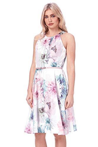 Roman Originals Vestido de mujer con ajuste floral y cinturón – ocasión...