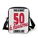 FAFANIQ 50th Birthday Decorations,Fifty and Awesome Cool and Fun Hand Written Happy Slogan,Red Black White Print Kids Crossbody Messenger Bag Purse
