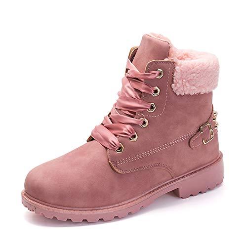 Botas Nieve Mujer Otoño Invierno Calentar Piel Forro Botines Retro Snow Boots Cordones Zapatillas Planas Rosa 37
