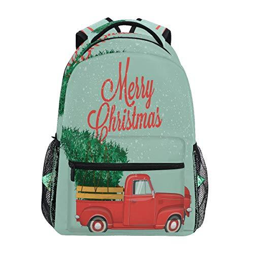 Ahomy Schulrucksack Buchtasche für Teenager Mädchen Jungen, Weihnachtsbaum mit Retro-Tonabnehmer LKW Reiserucksack Wandertasche für Damen Herren