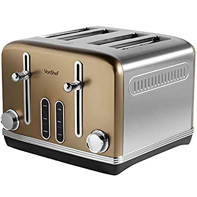 VonShef 4 Slice Toaster - Toaster with 6 Level Browning Control, Removable Crumb Tray, Defrost and Reheat Functions - 32mm Wide Slots - Champagne Gold