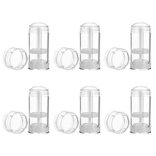 HEALLILY 6 recipientes de desodorante Twist-Up transparentes, vacíos, rellenables, de plástico, redondos, para pintalabios, desodorante, 50 ml