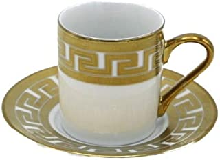 Porcelain China Espresso Turkish Coffee Demitasse Set of 6 Cups + Saucers Banded Border with Greek Rope (Gold)
