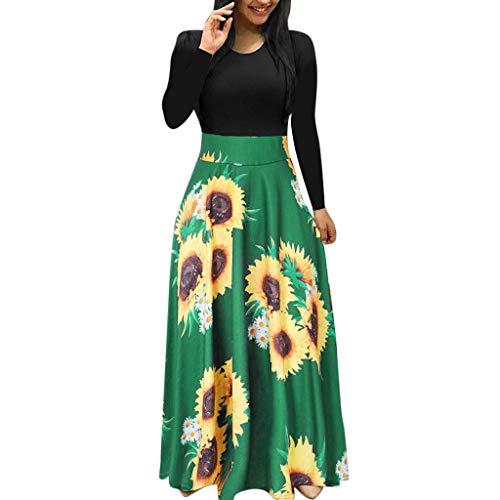 Sommerkleid Damen Lang mit Blüte Drucken Lang High Waist Elastische Strandkleider Maxikleider Elegant Lange Ärmel Cocktailkleid (L - EU:38 Büste:94cm/37.01'', Grün)