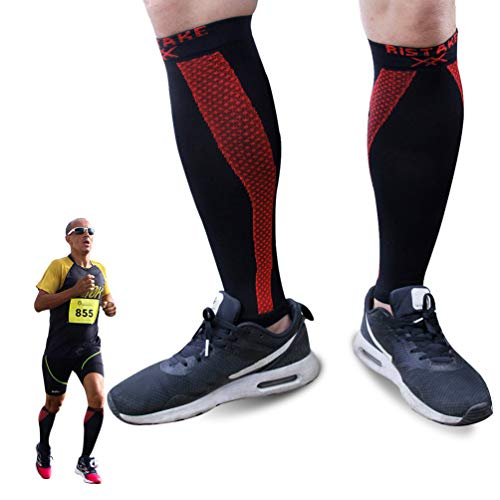 Calf Compression Socks for Men, Ristake Running Leg Sleeves with Enhance Graduated Compression Best Thanksgiving Gift for Men Perfect Option to Our Plantar Fasciitis Socks, Medium, 1 Pair, Green&Red