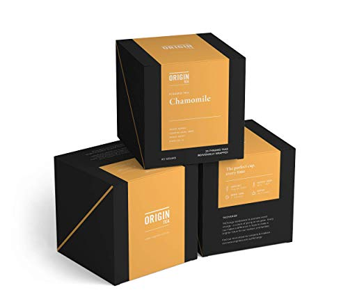 Origin Tea - Organic Chamomile Tea Bags - Luxury Pyramid Chamomile Decaffeinated Tea Bags - Flavored Tea Bags - Relaxation Tea - Triangle Tea Bags - Premium Tea Bags - Pure Tea Brew - Best Tea Bags