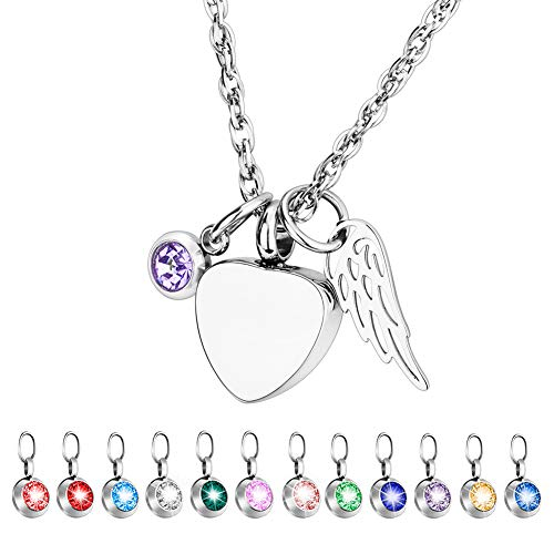 Dletay Cremation Jewelry for Ashes with 12 Birthstones Heart Memorial Ashes Keepsakes Necklace Urn Jewelry