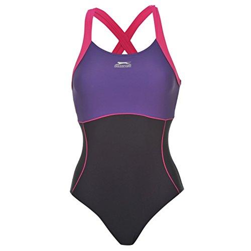 Slazenger Damen X Back Badeanzug Ringerruecken Schwimmanzug Bademode Schwimmen Blau 16 (XL)