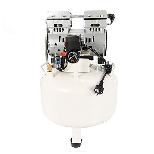 Compresor de aire, 35 l, caldera de 43 dB, compresor de aire silencioso sin aceite con manómetro, 1400 U/min 1,13 CV …