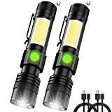 Rechargeable Flashlight,[New Edition LED Flashlight with Red Cob Strobe Light] Mini Small Maglite Flashlights with High Lumens,Waterproof,Zoomable,6 Modes for Hiking,Camping,Emergency(2 Pack)