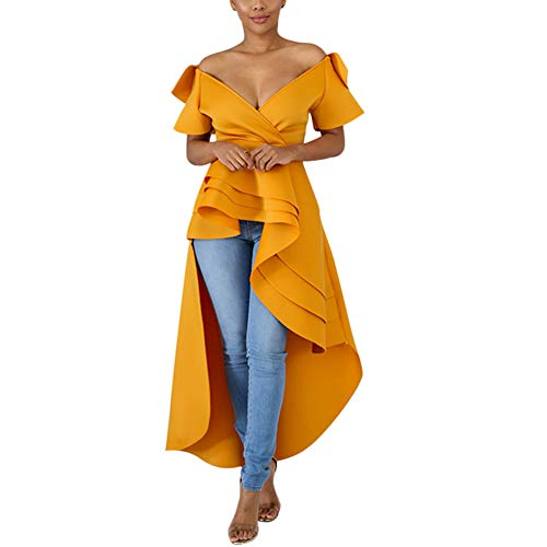 High Low Dress for Women - Ruffle Short Sleeve Off the Shoulder Bodycon Peplum Shirt Tops Orange