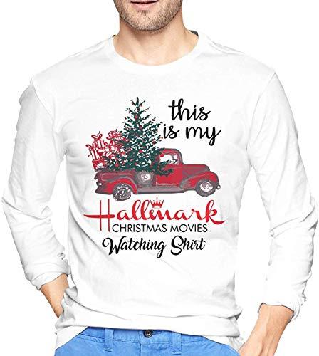 Dit is Mijn Hallmark Kerst Films Kijken Grafische Lange Mouw Wit Sport Tee Shirt Blouse voor Heren