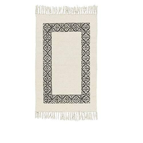Ib Laursen Teppich mit schwarzem Rahmen, 100 % Baumwolle, Weiß