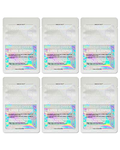 masque BAR Holographic Foil Facial Peel Off Mask (6 Pack) — Korean Beauty Face Skin Care Treatment — Smoothes, Moisturizes, Clarifies & Detoxifies — Makes Pores Look Smaller, Improves Skin Complexion