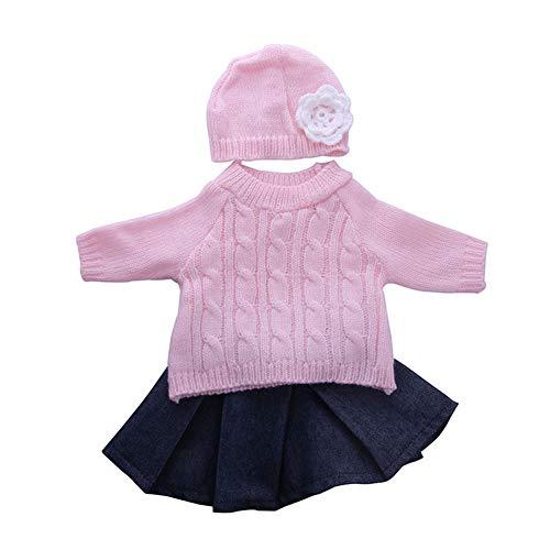 La niña de Ropa de niña Muñecas Muñeca suéter Rosa Jersey de Punto Hat y Falda Traje para 18 Pulgadas muñeca American Girl