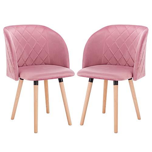 EUGAD 0303BY-2 2 Stücke Esszimmerstühle Küchenstuhl Wohnzimmerstuhl Polsterstuhl, Retro Design, gepolsterte Sitzfläche aus Samt, Massivholz, Rosa