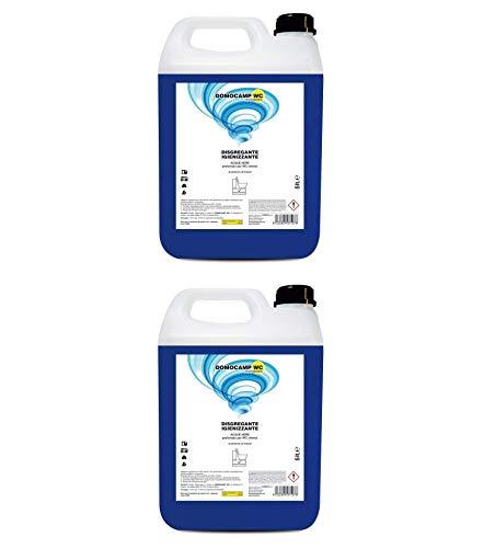 2 Pezzi x 5 Litri DOMOCAMP WC Liquido Disgregante per Wc Chimico – per Serbatoio Camper, Gabinetto da Campeggio, Acque Nere, Cesso Portatile