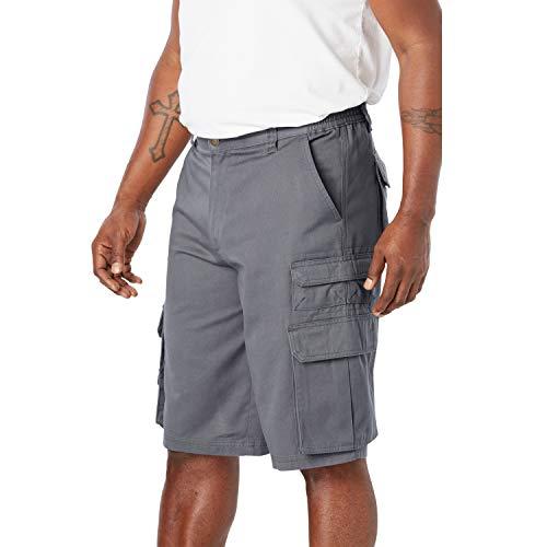 Boulder Creek by Kingsize Men's Big & Tall 12' Side-Elastic Stacked Cargo Pocket Shorts - Big - 52, Steel