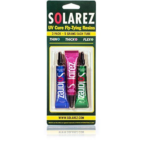 SOLAREZ Fly Tie UV Cure Resin - 3 Pack Starter Kit - Thin Hard, Thick Hard, Flex Formulas (3 x 5g Tubes) Fly Tying Resin, FlyTye Glue, Fly Fishing Starter to Build Fly Heads and Bodies! USA Made!