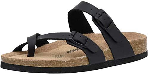 Sandalias para Mujer con Punta Abierta, Cuero Cómodas de Playa con Hebilla Zuecos Sandalias para Verano Zapatillas de Corcho Regalo, Talla 36-42,Negro,39
