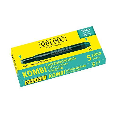 ONLINE Kombi-Tintenpatronen, Universal-Patronen, kompatibel mit allen gängigen Füllern, auch Lamy-Füller, Ersatz-Patronen, Schachtel mit 5 Großraum-Patronen, Farbe: Türkis