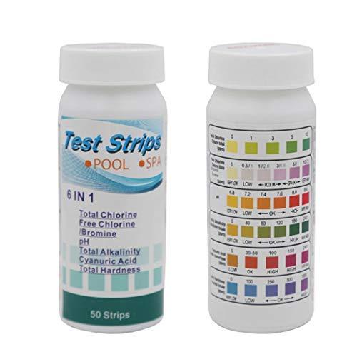 Writtian PH Teststreifen Pool, 6 in 1 wassertester, Doppelpack 100 Stück Teststreifen für Pool, Trinkwasser pH-Wert/Chlor/Alkalinität/Cyanursäure und Wasserhärte rät