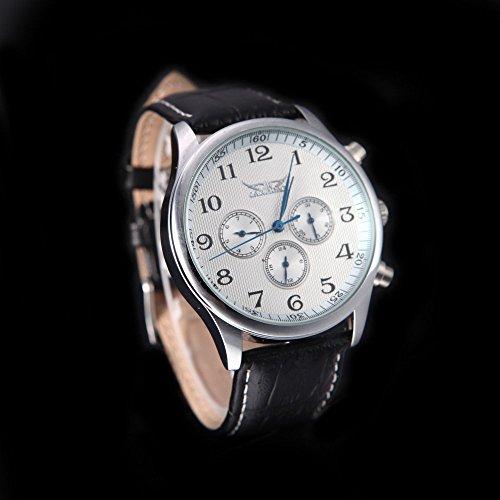 JARAGAR Montre Homme Montre Mécanique Automatique 6 Aiguilles Bracelet de Montre en Cuir Affichage...